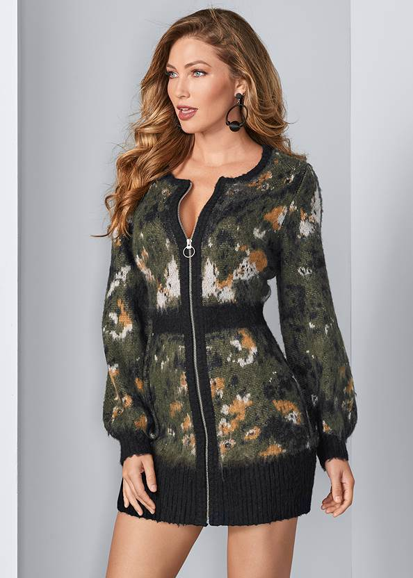 Front View Zip Up Sweater Dress
