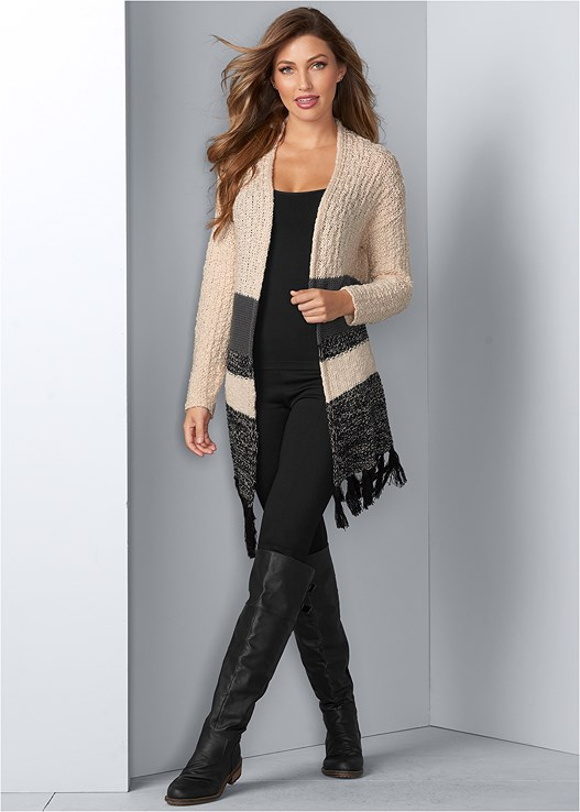 TASSEL DETAIL DUSTER,SEAMLESS CAMI,EVERYDAY YOU STRAPLESS BRA,BUCKLE KNEE HIGH BOOTS