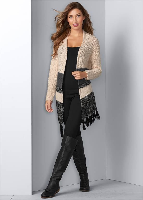Tassel Detail Duster,Basic Cami Two Pack,Slouchy Mid-Calf Boot