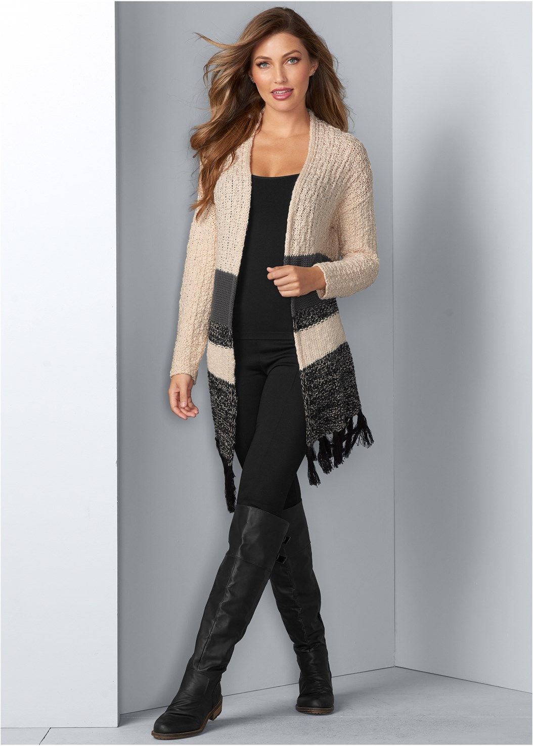 Tassel Detail Duster,Basic Cami Two Pack,Buckle Knee High Boots,Fringe Macrame Bag,Slouchy Mid-Calf Boot