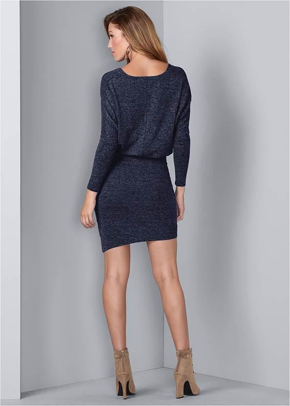 Back View V-Neck Sweater Dress