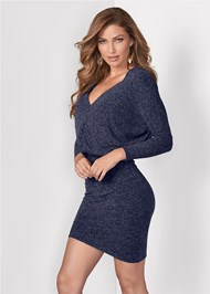 Front View V-Neck Sweater Dress
