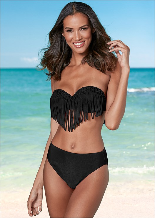 HIGH WAIST MODERATE BOTTOM,UNDERWIRE FRINGE BANDEAU