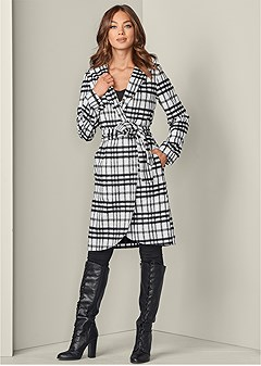 plus size hooded wrap coat