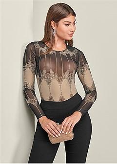 embellished mesh bodysuit