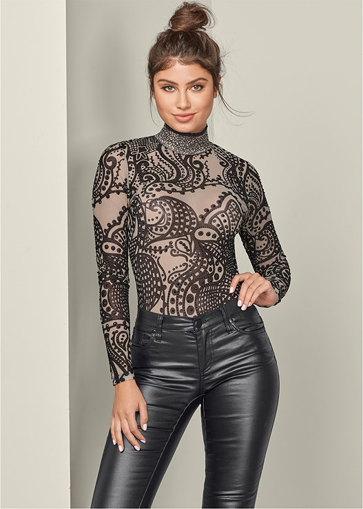 PRINT MESH BODYSUIT,FAUX LEATHER PANTS