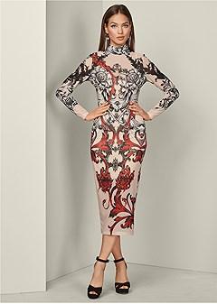 sheer mesh print dress