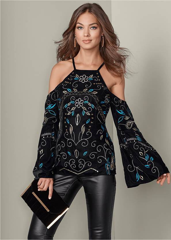 Embroidered Bell Sleeve Top,Faux Leather Pants