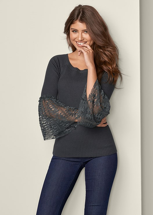 LACE BELL SLEEVE SWEATER,SLIMMING STRETCH JEGGINGS
