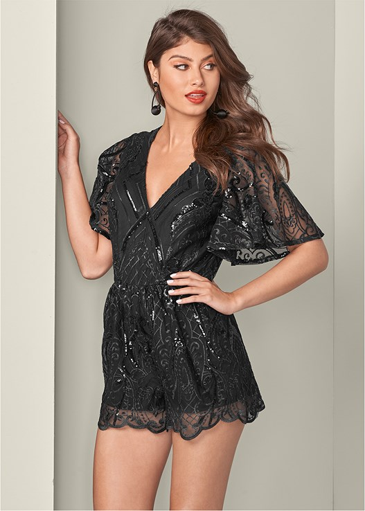 b27771b231e SEQUIN DETAIL ROMPER in Black