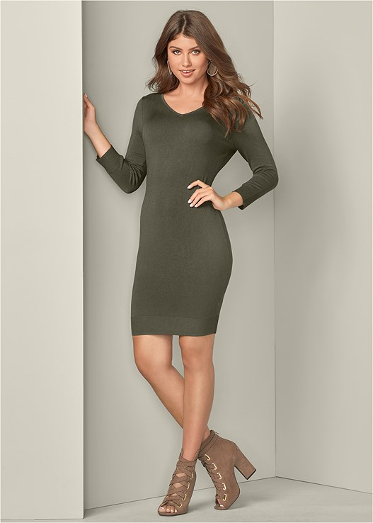 V-NECK SWEATER DRESS,PEEP TOE LACE UP BOOTIE