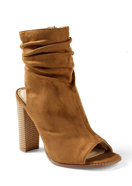 OPEN HEEL BOOTIE,FAUX WRAP MAXI DRESS