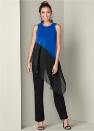Front View Chiffon Overlay Jumpsuit