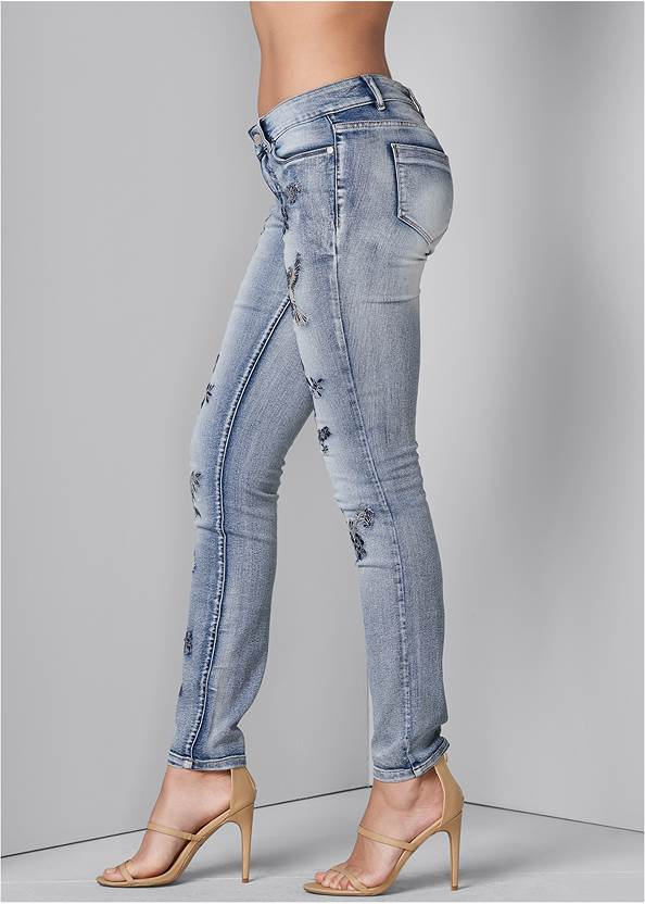 Back View Embroidered Skinny Jeans