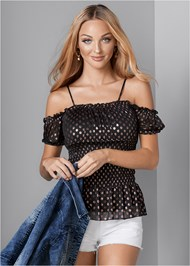 Front View Smocked Mesh Detail Top