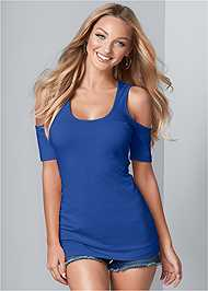 Cropped Front View Long And Lean Cold Shoulder