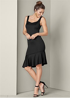 ruffle trim detail dress