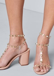 Alternate View Transparent Studded Heels