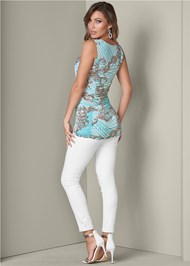 Back View Ruched Detail Print Top