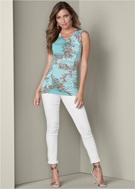 Alternate View Ruched Detail Print Top