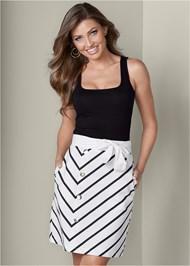 Belted Stripe Skirt