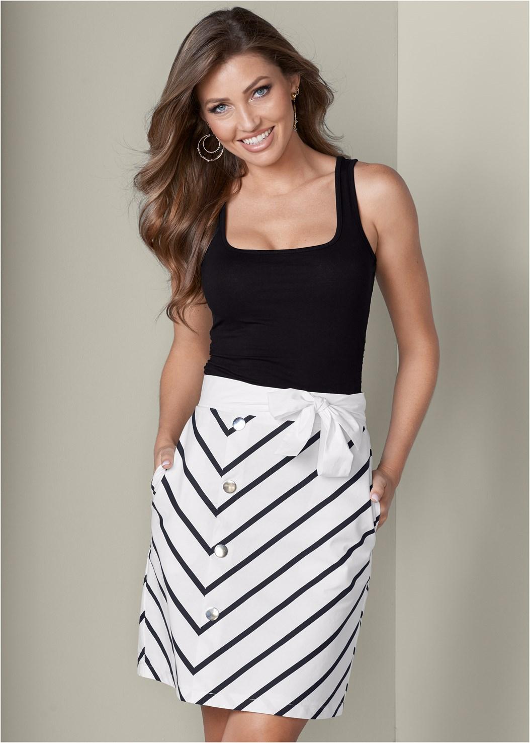 Belted Stripe Skirt,Square Neck Tank Top,High Heel Strappy Sandals,Beaded Hoop Earrings