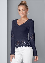 Front View Lace Detail Sweater