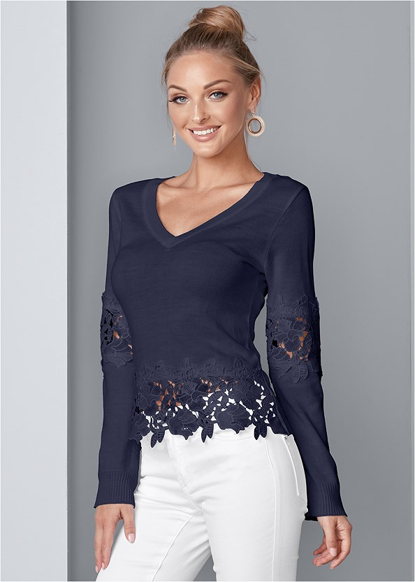 Lace Detail Sweater,Color Capri Jeans