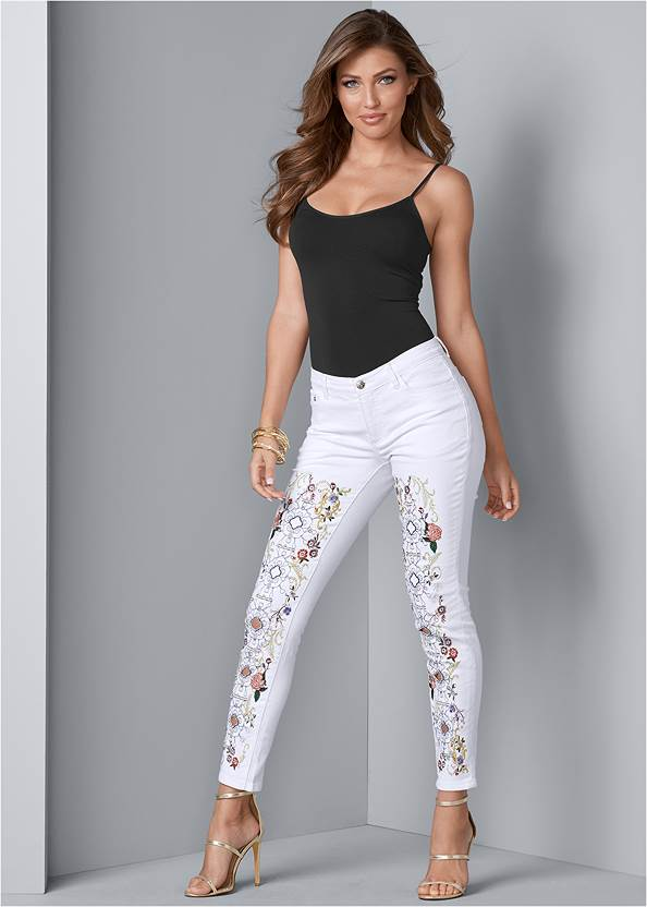 Embellished Jeans,Basic Cami Two Pack,High Heel Strappy Sandals,Fringe Drop Earrings
