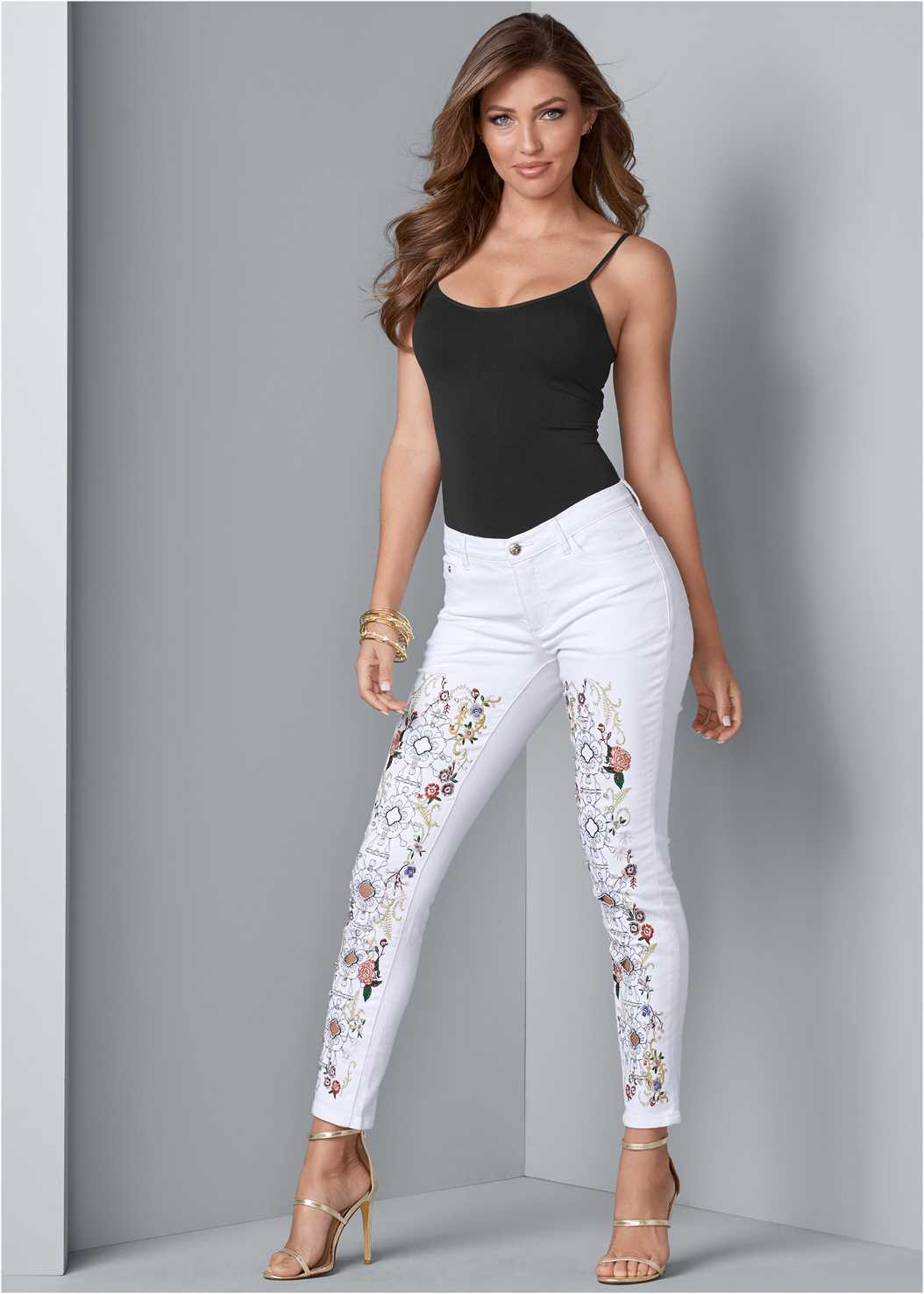 Embellished Jeans,Basic Cami Two Pack,High Heel Strappy Sandals,Fringe Drop Earrings,Raffia Detail Bag