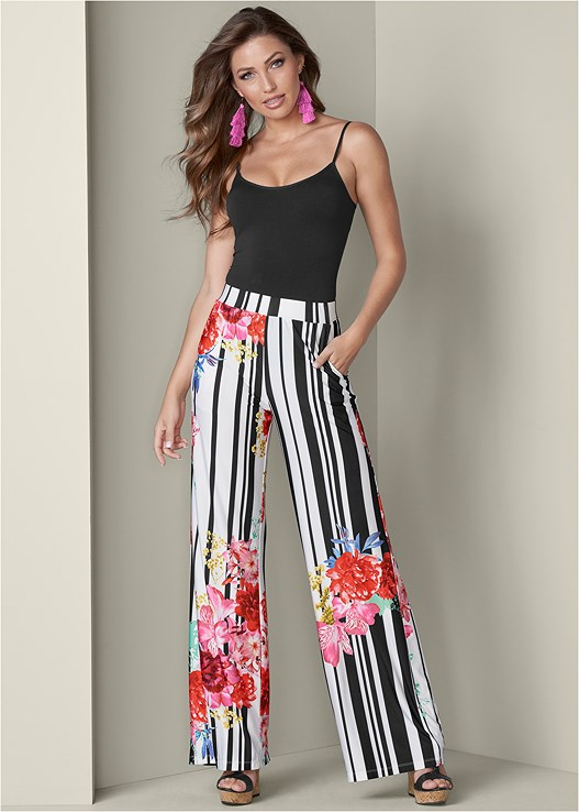 PRINT WIDE LEG PANTS,SEAMLESS CAMI,BRAIDED DETAIL WEDGES,TASSEL EARRINGS