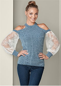 lace detail sweater