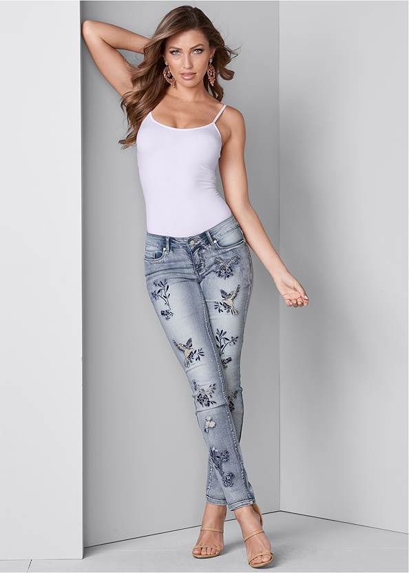 Embroidered Skinny Jeans,Basic Cami Two Pack,High Heel Strappy Sandals,Ombre Macrame Crossbody