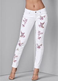 Front View Embroidered Skinny Jeans