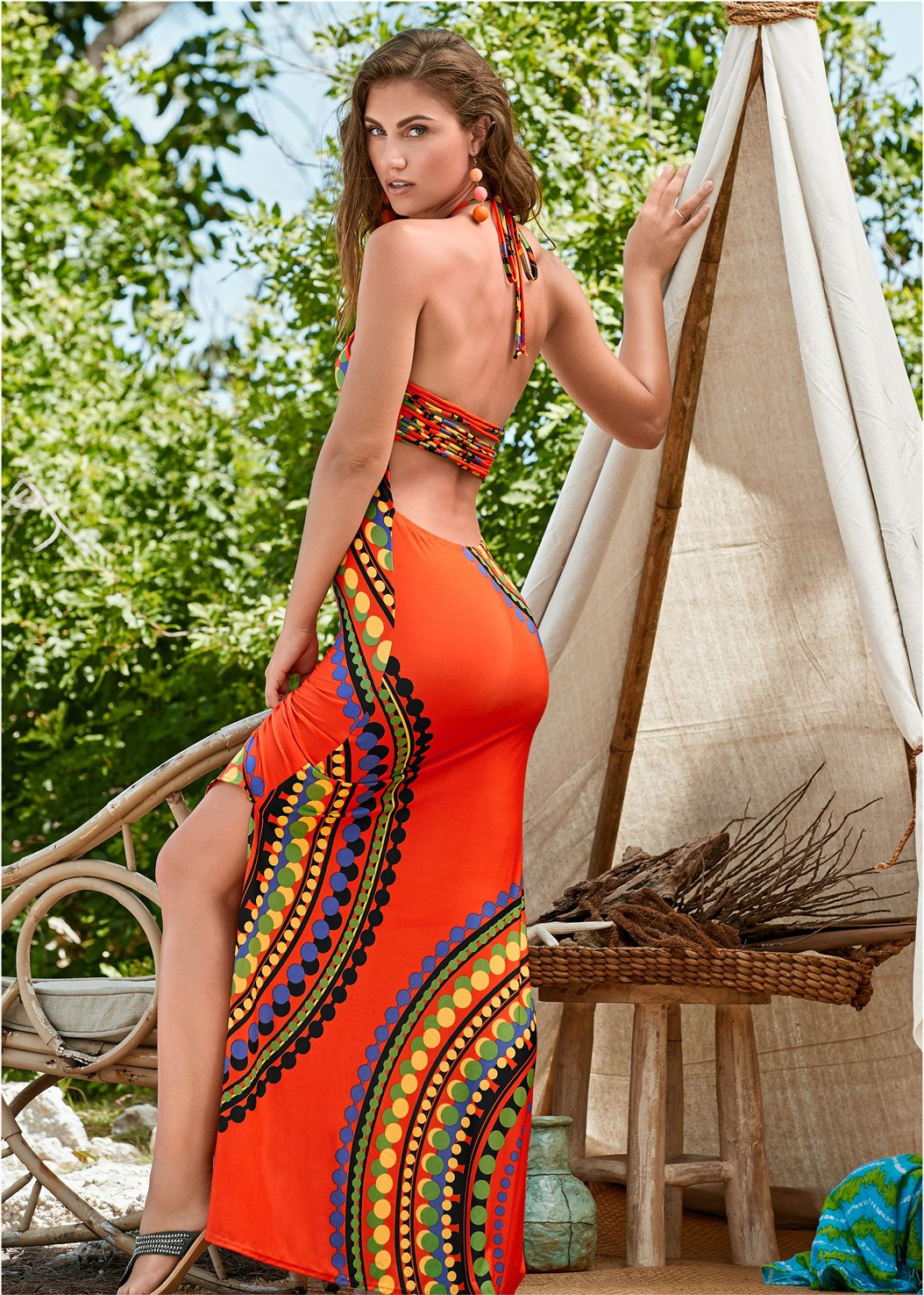 Strappy Maxi Dress,Color Block Bandeau Top,Mid Rise Strappy Bottom,Capri Strap Back Monokini