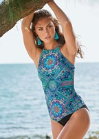 hanky hem high neck tankini