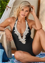 Alternate View Beaded Crochet One-Piece