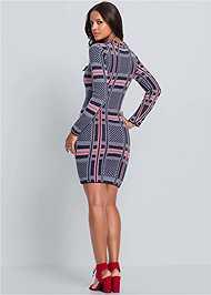 Back View Plaid Sweater Dress