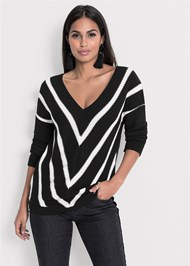 Alternate View V-Neck Striped Sweater