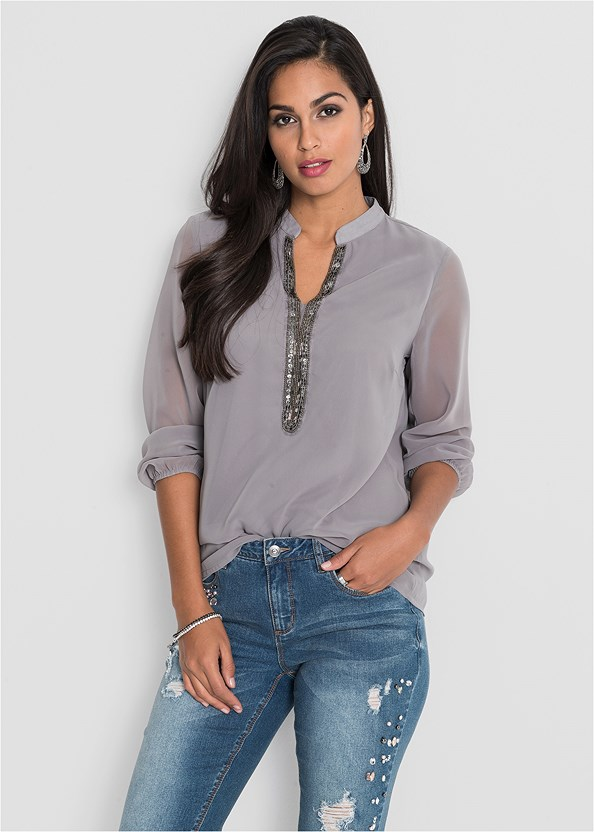 Embellished Blouse,Push Up Bra Buy 2 For $40,Stud Detail Scarf