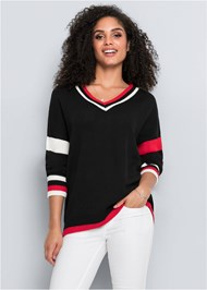Front View Relaxed V-Neck Sweater