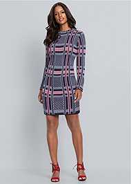 Front View Plaid Sweater Dress