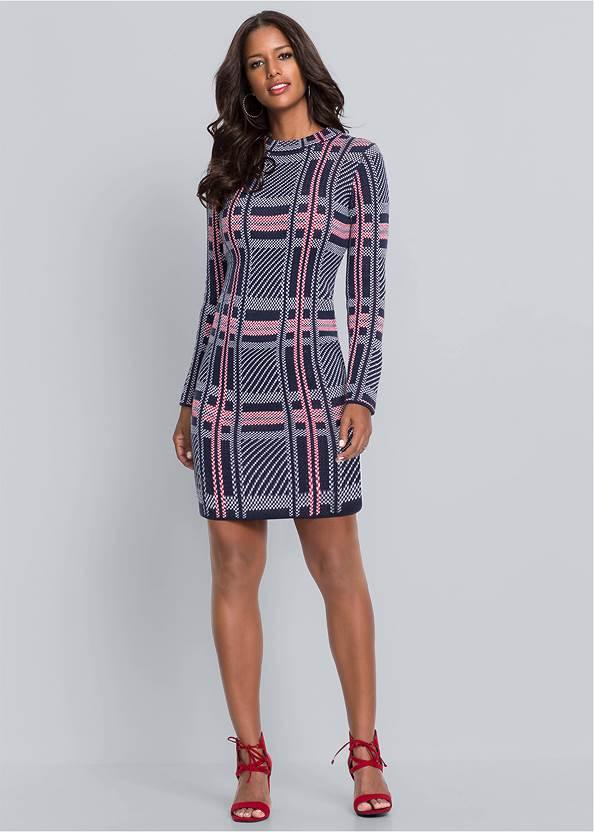 Plaid Sweater Dress,Bralette 2 Pack