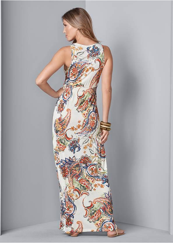 Back View Paisley Print Maxi Dress