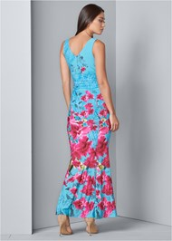 Back View Floral Print Maxi Dress