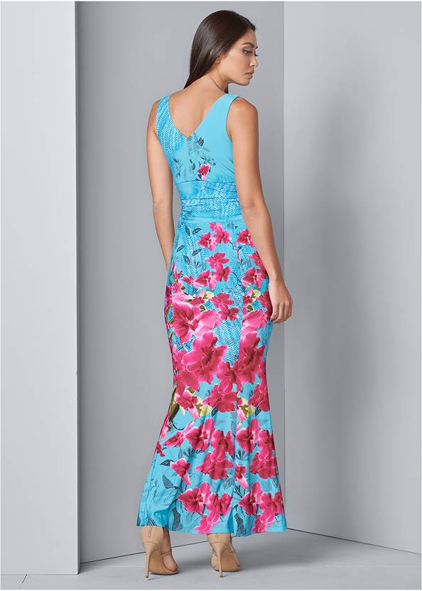 Back View Floral Print Maxi Dress