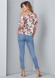 Back View Cold Shoulder Floral Top