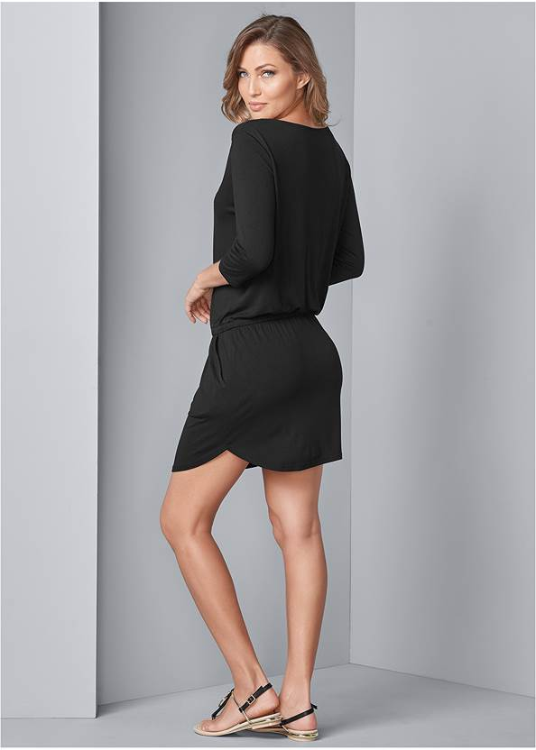 Back View Zip Detail Casual Dress