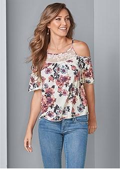 cold shoulder floral top