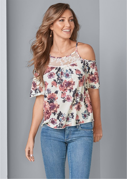 COLD SHOULDER FLORAL TOP,COLOR SKINNY JEANS,TRANSPARENT STUDDED HEELS